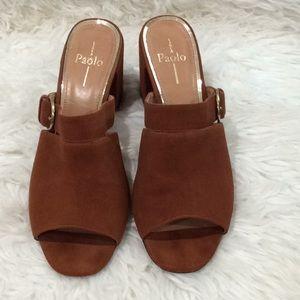 Vintage Línea Paolo suede peep toe heeled sandals